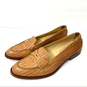 Tod's Camel Color Reptile Print Leather Loafers